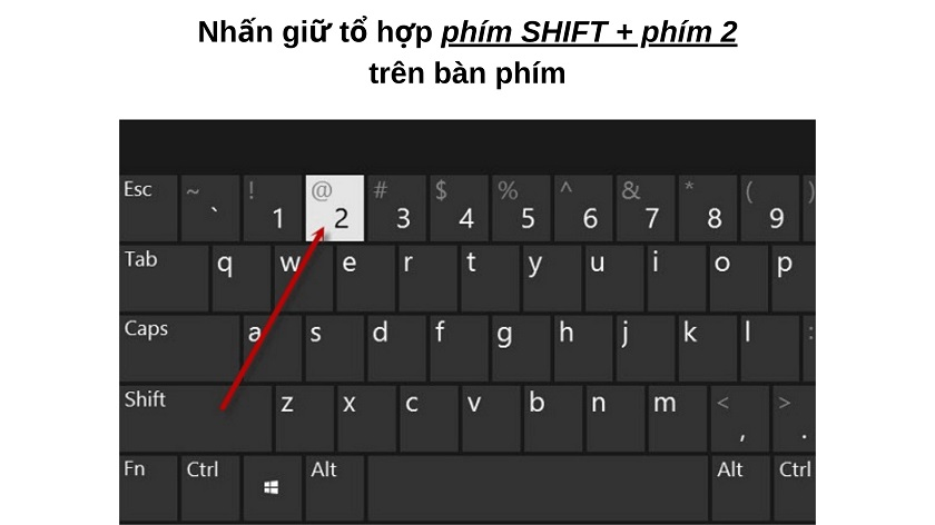 Bấm @ từ bàn phím trên laptop - máy tính