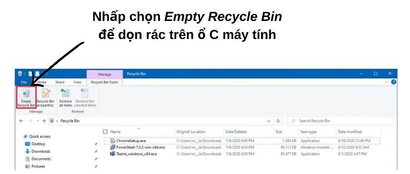 Dọn rác trên máy tính bằng Recycle Bin