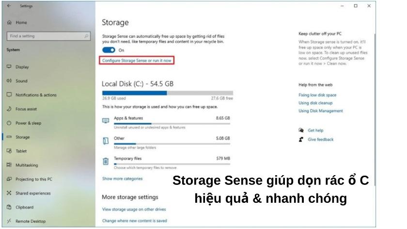 Dọn rác trên máy tính bằng Storage Sense