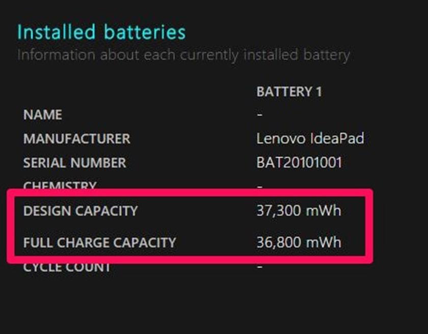 nhìn đến mục Installed Batteries