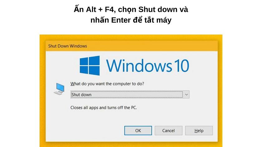 Tắt máy tính, laptop bằng phím tắt trên Windows