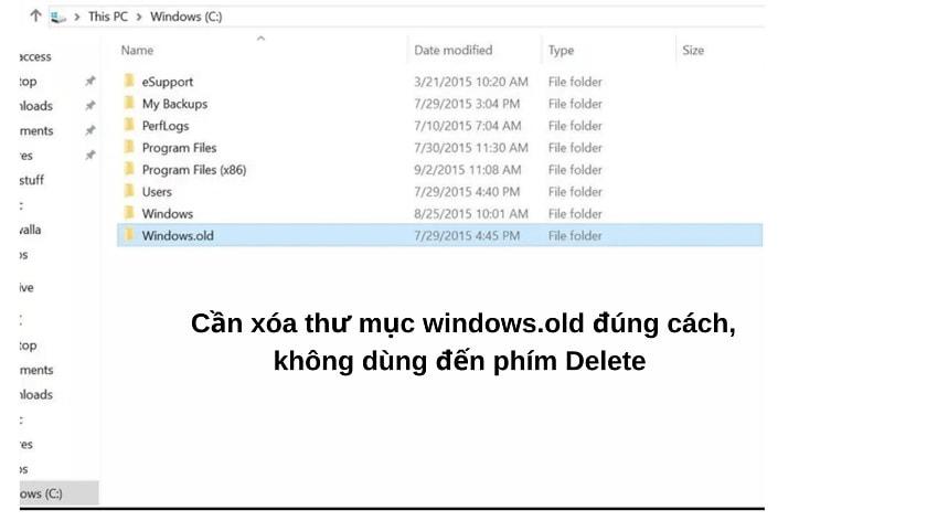 Những điều cần lưu ý trước khi xóa windows.old