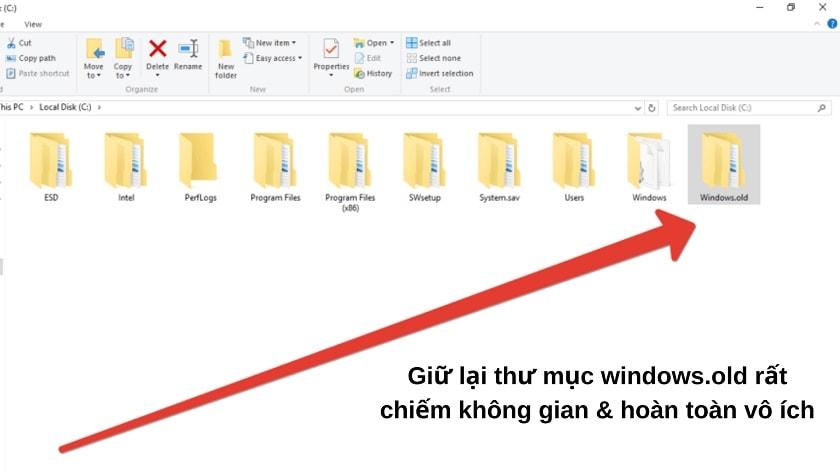 Vì sao cần phải xóa thư mục windows.old?