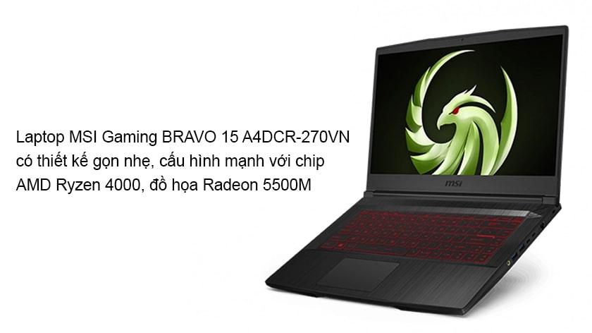 Laptop MSI Gaming BRAVO 15 A4DCR-270VN