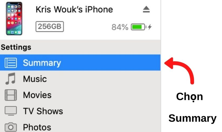 """Nhấp chọn vào """"Summary"""" trong mục """"Settings"""""""