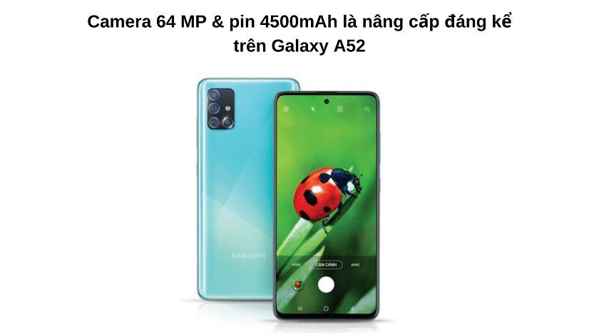 Camera, pin Samsung A52 và A51