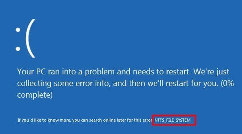 Lỗi The File System Needs Repair