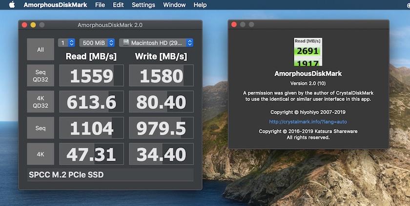 Phần mềm Amorphous DiskMark (mac OS)