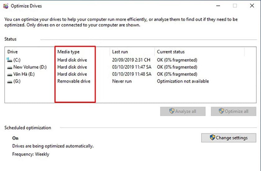 Kiểm tra ổ cứng SSD hay HDD Optimize Drives