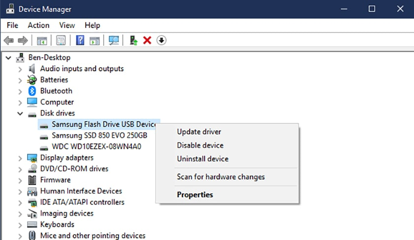 Kiểm tra bằng Device Manager