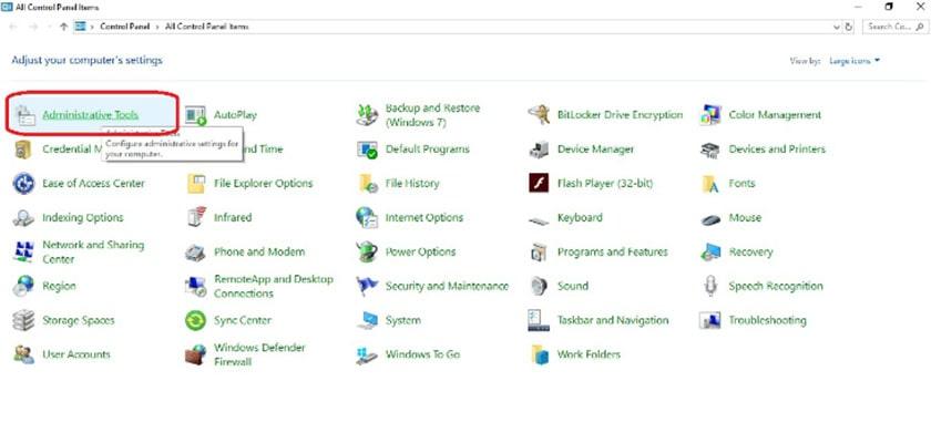 Kiểm tra dung lượng RAM với mục Administrative Tools trong Control Panel