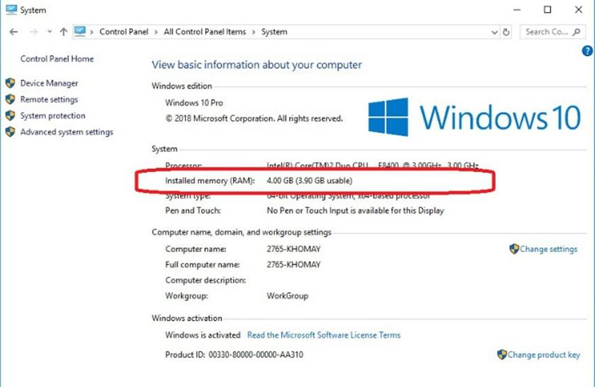 Kiểm tra dung lượng RAM laptop bằng Control Panel