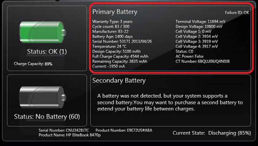 Phần mềm quản lý pin laptop HP Battery Check