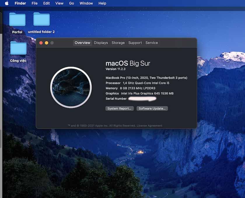 """Nhấp vào """"System Report"""" để kiểm tra RAM trên Macbook"""