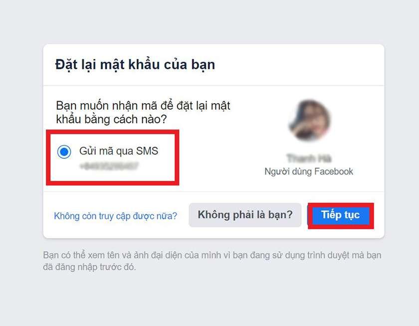 Lấy lại mật khẩu Facebook bằng số điện thoại
