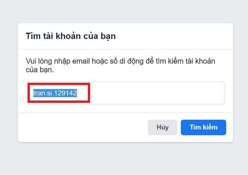 Lấy lại mật khẩu Facebook bằng tên của bạn hoặc tên người dùng (Username)