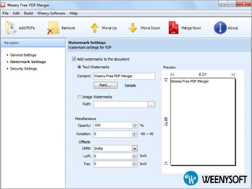 Nối file PDF với Weeny Free PDF Merger