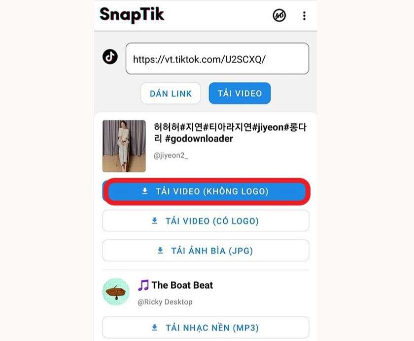 Download video TikTok không logo bằng SnapTik trên điện thoại