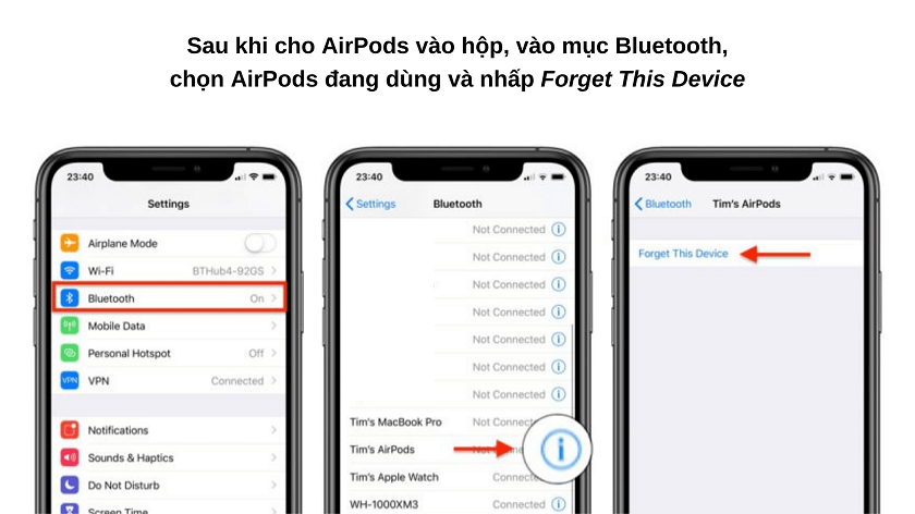 Reset lại AirPods