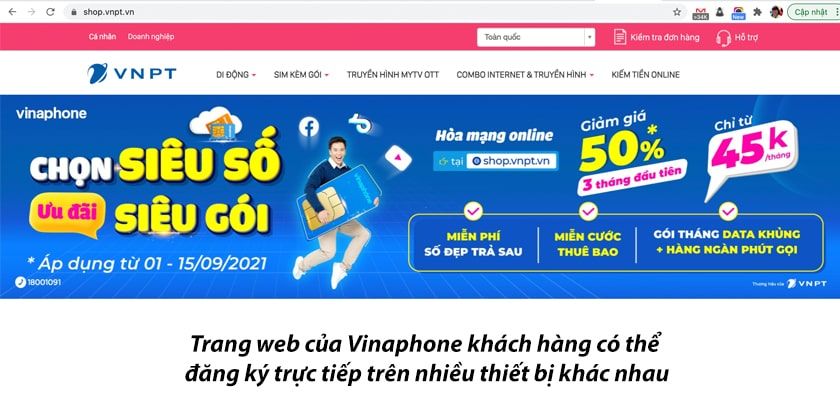 Hướng dẫn đăng ký trực tiếp gói cước trên website của Vinaphone