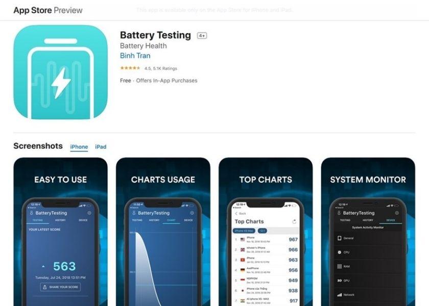 phần mềm Battery Testing