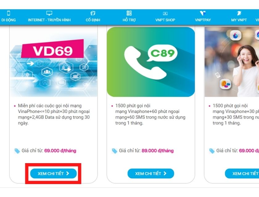 Đăng ký các gói cước gọi nội mạng Vinaphone thông qua website