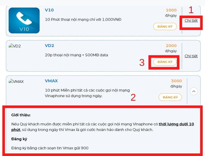 Đăng ký các gói cước gọi nội mạng Vinaphone thông qua ứng dụng My VNPT