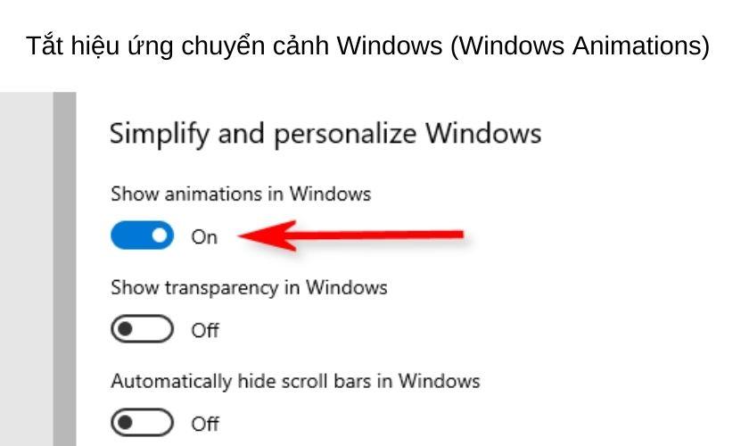 Tắt những hiệu ứng chuyển cảnh Windows