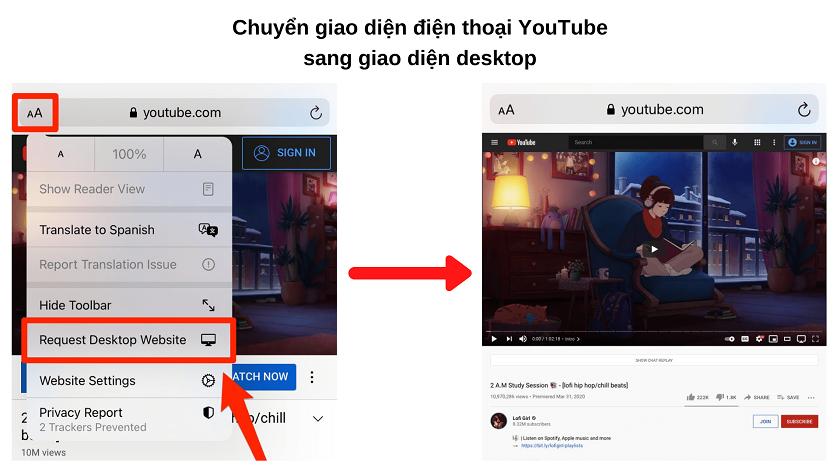 Sử dụng trình duyệt để nghe ứng dụng nghe nhạc YouTube tắt màn hình