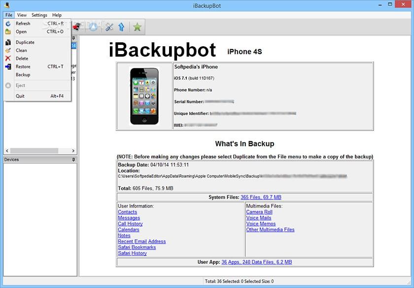 Kiểm tra dung lượng pin qua công cụ iBackupbot trên máy tính